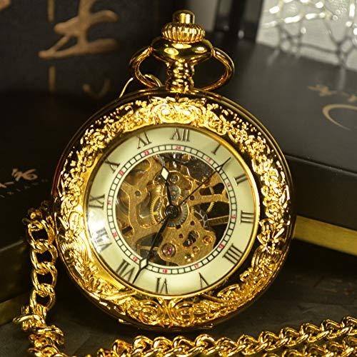 ERDING Pocket Horloges, verjaardag dag, Steampunk Skeleton Mechanische Pocket Horloges Mannen Antieke Hand Wind Ketting Pocket & Horloge Ketting Goud