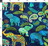 Tiere, Elefanten, Paisley, Tierwelt Stoffe - Individuell
