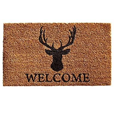 Home & More 121472436 Deer Welcome Doormat, 24  x 36  x 0.60 , Natural/Black