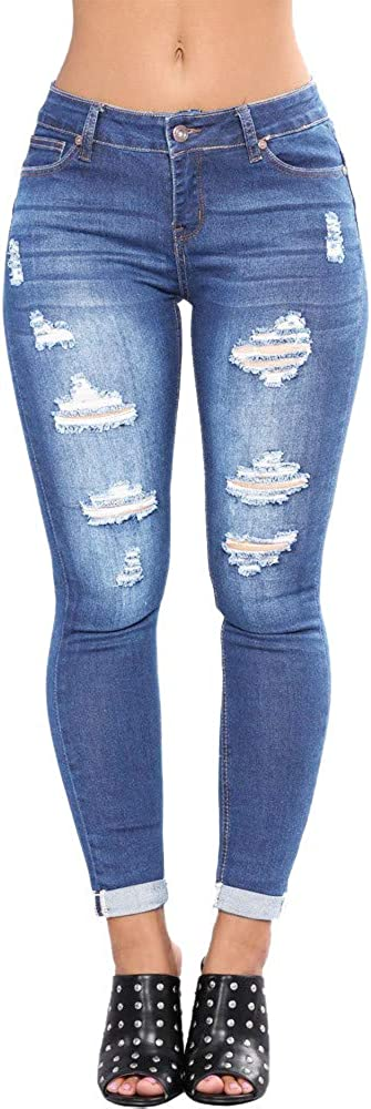EOWO Women's Butt Lifting Quantity limited Max 49% OFF Jeans Distressed Ripped Stretch Skinny