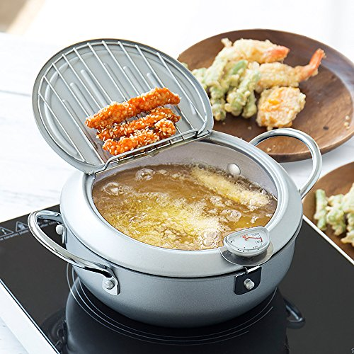 Non-stick coating Frying pan with thermometer Tempura Fryer Pot, Mini Deep Fry Pan with Drainer Mini Deep frying pan with oil frying pan 10 IN