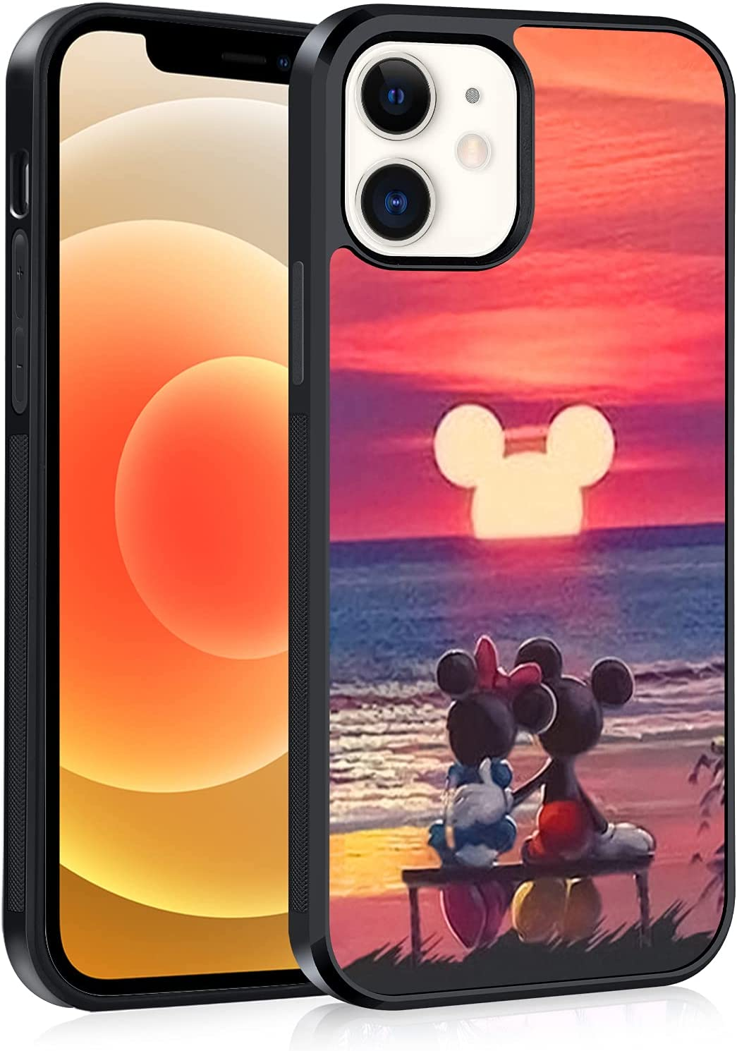 Compatible with iPhone 12 Case, iPhone 12 Pro Case, Cute Pattern Mickey Minnie Mouse Soft TPU Bumper Hard PC Back Shockproof Anti-Skid Tire Black Full Body Protection Cover-6.1 inch