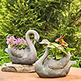 Set of 2 Magnesium Swan Flower Planters