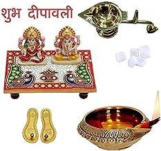 Indian Handicrafts Export Laxmi Ganesh Ji with Marble Choki Combo for Laxmi Paduka, Aarti Diya and Oil Lamb || Diwali Pooja Samgri Kit