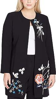 f7b78c3721673 Tahari by ASL Womens Plus Floral Embroidered Jacket Blacks