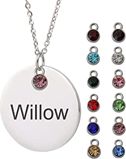 Custom Name Necklace with Birthstone Engraved Disc Monogram Initial