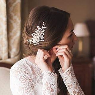 Deniferymakeup Bridal Pearl Hair Comb Wedding Hair Comb Ivory Headpiece Delicate Pearl Hair Piece Crystal and Pearl Bridal Hair Comb Wedding Accessory Rhinestone Hair Piece (Silver)