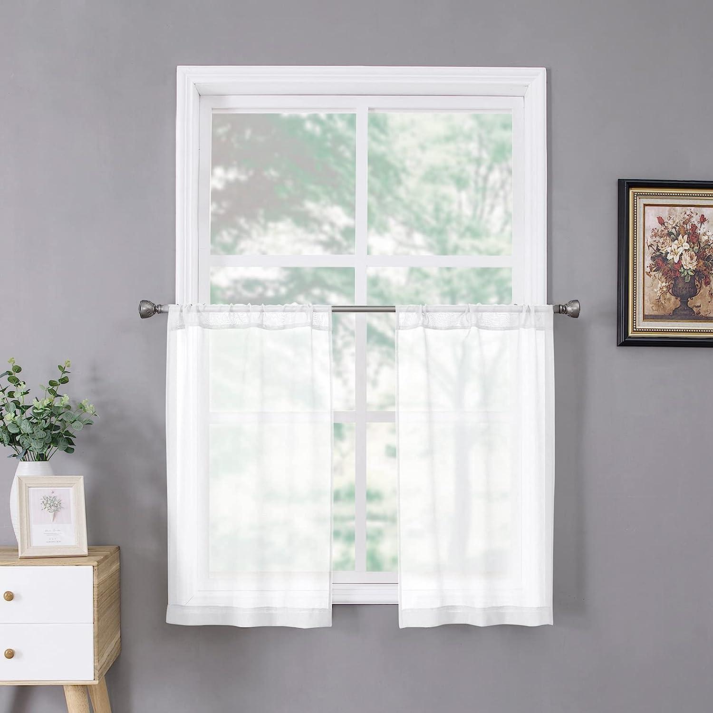 Tollpiz Short Sheer Tier Curtains Half Kitchen Deluxe Textured New item Cu Linen