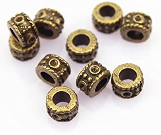 LolliBeads (TM) DIY Jewelry Making Antique Brass Bronze Vintage Style Round Bead Spacer with Large Hole (30 Pcs)