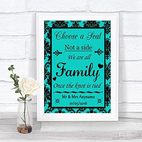 Turquoise Damask Kies een stoel we zijn allemaal familie gepersonaliseerde bruiloft teken Framed Oak Medium