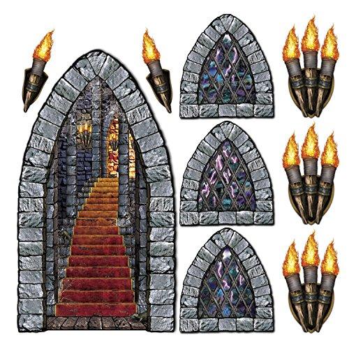 Beistle 00912 Stairway, Window & Torch Props 9 Piece Halloween-Dekoration, Foto-OP-Hintergrund, Kunststoff