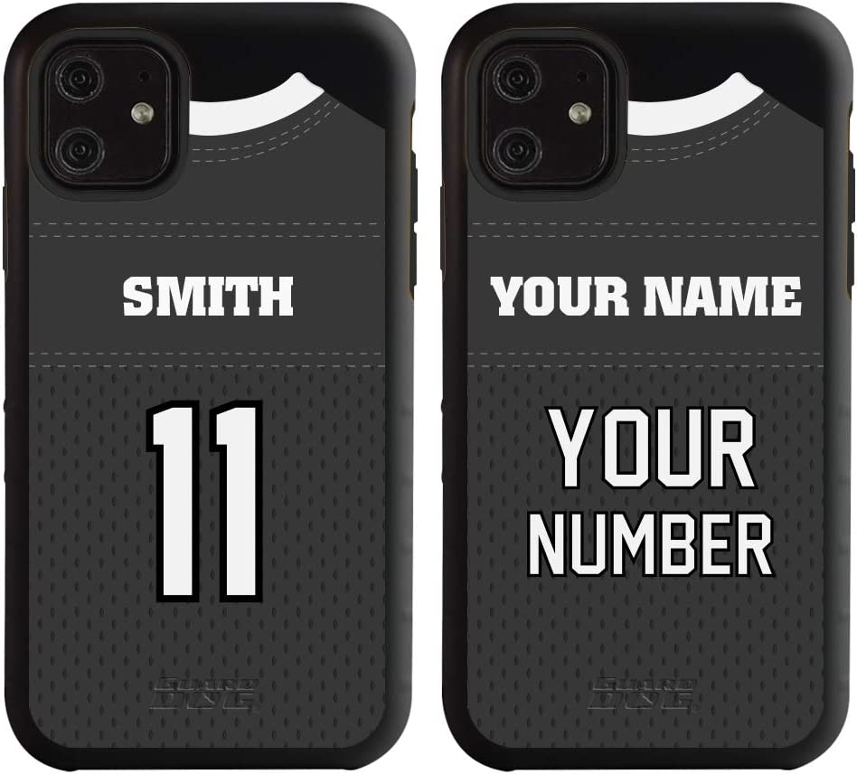 Custom Football Jersey Phone Case for iPhone 11 by Guard Dog - Personalized Sports - Your Name and Number on a Protective Hybrid Phone Case (Black, Black)