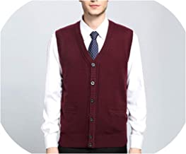 Men's Casual Knitted V Neck Vest Cardigan Color Gary Warm Elastic Male Sweater