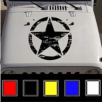 3S MOTORLINE 2X White 6 Army Star Decal Sticker Car Vinyl Distressed Fit for Jeep Wrangler etc