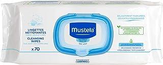 Lenços Umedecidos Delicadamente Perfumados e Ultra-Suaves para Higiene do Rosto ao Bumbum, Mustela Bebê, Azul, Grande/70 lenços