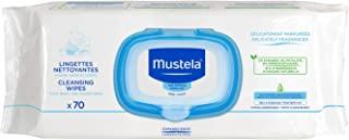 Mustela Cleansing Wipes, Ultra Soft Baby Wipes with Natural Avocado Perseose & Aloe Vera, Delicately Scented, 70 count