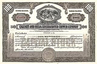 Calumet & Hecla Consolidated Copper - Stock Certificate