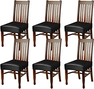 Fuloon Dining Chair Seat Covers,PU Leather Waterproof and Oilproof Removable Stretch Dining Chair Protctor Cover Slipcover (6 Sets, BK)