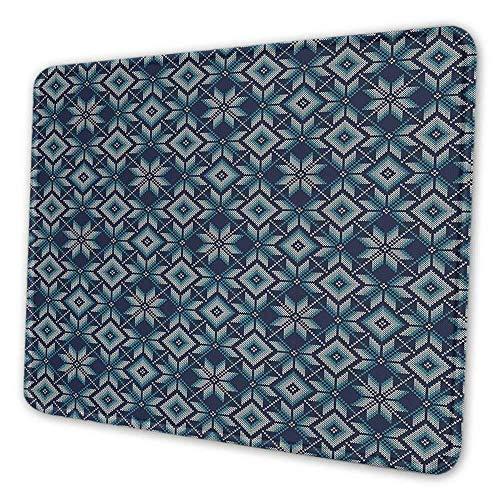Blaue und weiße niedliche Mauspad Winterurlaub Messe Insel Muster Illustration nordischen Retro schmutzabweisenden Mauspad Marineblau hellblau weiß