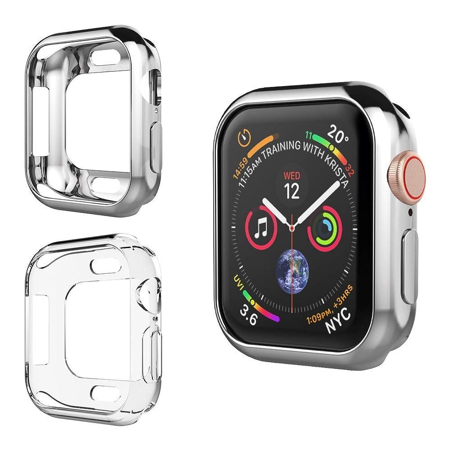 雇用椅子口UMTELE コンパチブル Apple Watch Series 5/4 ケース アップル ウォッチ シリーズ 5/4 ケース 2枚セット メッキTPUケース ソフト 超簿 透明 保護ケース 全面保護カバー 脱着簡単 着装まま充電可能 Apple Watch Series 5/4専用 44mm アップルウォッチ5/4だけに対応 耐衝撃性 薄型 軽量 精密操作 高感度&高級感(44mm、2個セット:クリア+シルバー)