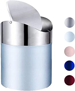 (Light Blue) - Mini Trash Can with Lid, Brushed Stainless Steel Small Tiny Mini Trash Bin Can, Mini Countertop Trash Cans ...