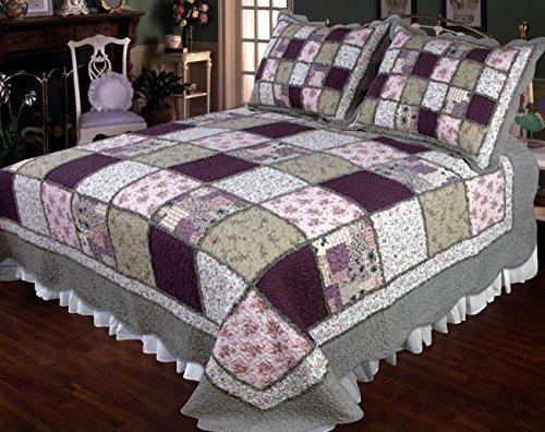 Elegant Décor 106 by 96u0022 Sugarplum Cotton Quilt, King