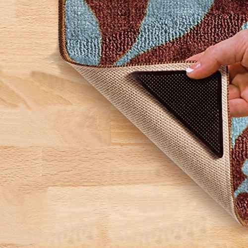 Taylor & Brown® Ruggies Gleitschutz für Teppiche, selbstklebend, wiederverwendbar, rutschfeste Teppichgreifer, 4Stück