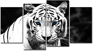 4 Pieces Painting Animal Prints Wall Art, White Tiger Blue Eyes Picture Art Prints and Posters, Canvas Prints Printmaking Artwork for Home Walls Decor (No Frame)