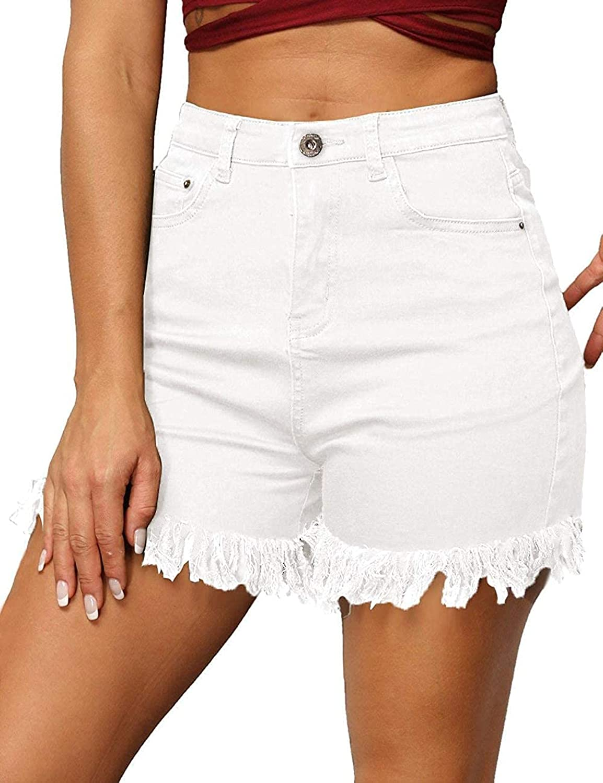 Women's Denim Shorts Juniors Summer High Waist Stretch Frayed Hem Shorts