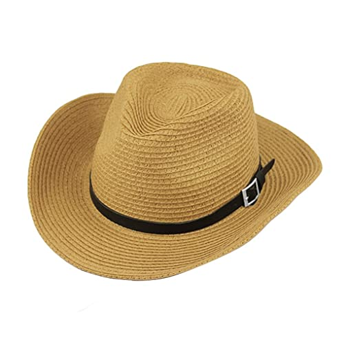 202b9105b19 Men s Summer Beach Wide Brim Straw Cowboy Hat with Leather Band UPF 50+ Sun  Protection