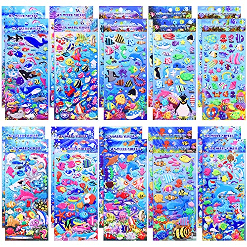 1000 Pieces 20 Sheets Puffy Ocean Stickers Foam Bubble Ocean Animal Stickers 3D Sea Animal Stickers Decals for Water Bottle Laptop Luggage Helmet Guitar Craft Scrapbooking Supplies