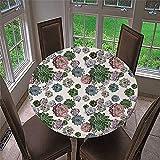 Mantel Antimanchas Redondo, Chickwin Impresión de Cactus Mantel de Mesa Impermeable Diseño de Borde Elástico, Mantel Redondo para Comedor, Cocina y Picnic (Plantas suculentas,150cm)