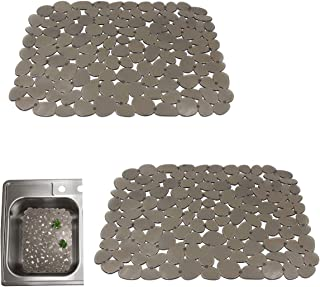 Quable Sink Drainer Mat,Kitchen Sink Mat Protector PVC Protects Glass Pebble Brown (2 PACK)