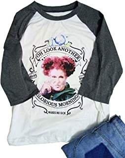 Plus Size Halloween Hocus Pocus Glorious Morning T Shirt Womens Long Sleeve Winifred Fall Shirt Tops