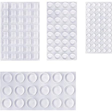 Lagrimas Silicona,107 Piezas Pies de Goma Transparentes Silicona Adhesivas Topes Adhesivos de Ruido Anti Ara/ñazos para Armarios Puertas Cajones 4 Tama/ños