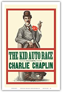 Pacifica Island Art The Kid Auto Race - Charlie Chaplin - Directed by Henry Lehrman - Venice Beach, California - Vintage Film Movie Poster c.1914 - Master Art Print - 12in x 18in