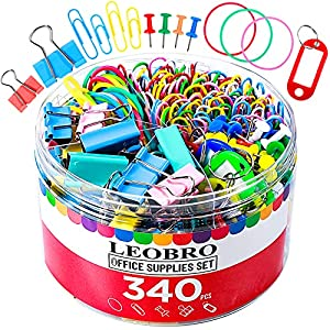 340PCS Binder Clips Paper Clips, LEOBRO 150PCS Paperclips, 34PCS Binder Clips Bag Clips, 80PCS Rubber Bands, 70PCS Push Pins Thumb Tacks, 6PCS Key Tags, Cute School Teacher Office Supplies