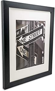 """TheDisplayGuys Solid Black Wood 16x20 Picture Frames w. Tempered Glass matted to 11x14 for Wall Hanging (1"""" Wide Border) Set of 4"""