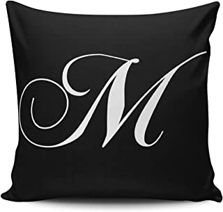 ANLIPU Personalized Decorative Pillowcases Black White Monogram Designer Monogrammed Throw Pillow Covers Cases Square Size 16x16 Inches Print on Two Sides