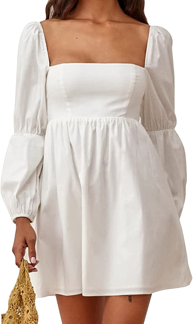 EXLURA Womens Square Neck Dress Long Puff Sleeve A-Line Casual Short Mini Dress