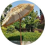Neigbarer Hawaii-Regenschirm, 2 m, Strohschirm, Hula-Regenschirm, Bast-Regenschirm, rund, Outdoor-Regenschirm (natürliche Farbe)