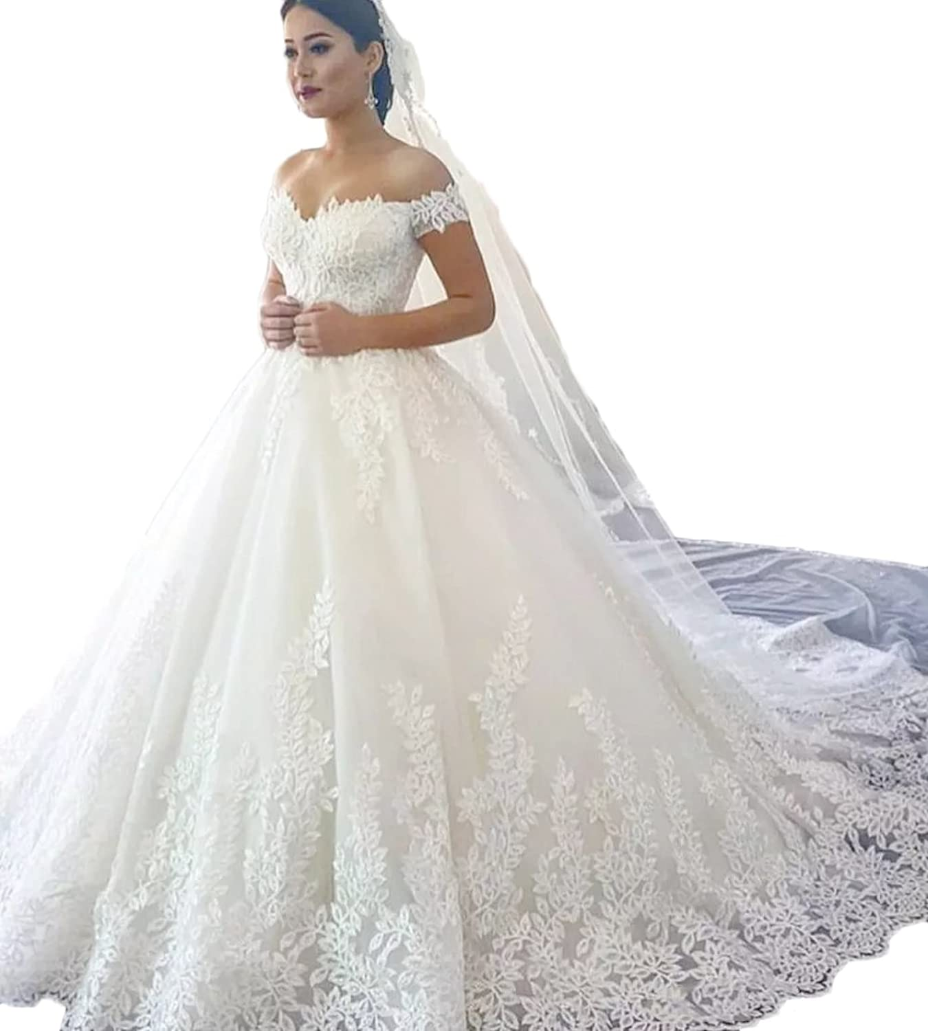 Alexzendra Off The Shoulder Ball Gown Wedding Dress Lace Women's Brides Gown