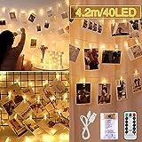 Clip Cadena de Luces LED, 4 metri 40 LED Fotoclips Guirnalda de Luces con Clips para Colgar Fotos ldecoración, Habitaciones, Bodas and Cumpleaños