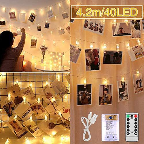 LED Fotoclips Lichterkette, 4M 40LED Fotolichterkette Photoclips Clip, Fairy Lights Bedroom 8 Modi für Wohnzimmer,Schlafzimmer, Weihnachten, Hochzeiten, Party, innen,Haus (Warmes)