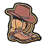 PatchStop Cowboy Boots Hat Iron On Patches for Clothing Jeans - 2.5x3.25in Small DIY Sew On Patch for Jackets Bags - Embroidered Decorative Western Patches