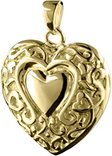 Loves Embrace Heart 14k Gold Vermeil Cremation Jewelry