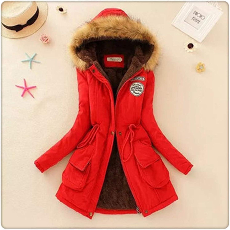 Hangwucha Autumn Winter Women Fur Collar Coats Jackets Slim Fleece Liner Thick Hooded Parkas Mid Long Cotton Outerwear Pleated Parkas Red XXL