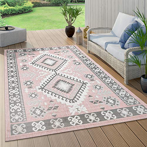 Vloerkleed voor binnen en buiten, voor balkon en terras met oriëntaals design, roze, Maat:120x160 cm