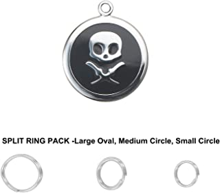 Divoti Deep Custom Laser Engraved Pet ID Tags/Personalized Dog Tags for Pets - Entirely Made of Surgical Stainless-Steel w/Hard Enamel - Various Sizes & Designs - Free Custom Engraving w/Ring Pack