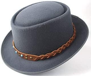 Pork Pie Hat Fedora Trilby Fashion Pork Pie Hat Men Women with Tan Belt Porkpie Church Fascinator Jazz Hat Trilby Hat Dance Party Hat Size 58CM (Color : Gray, Size : 58)
